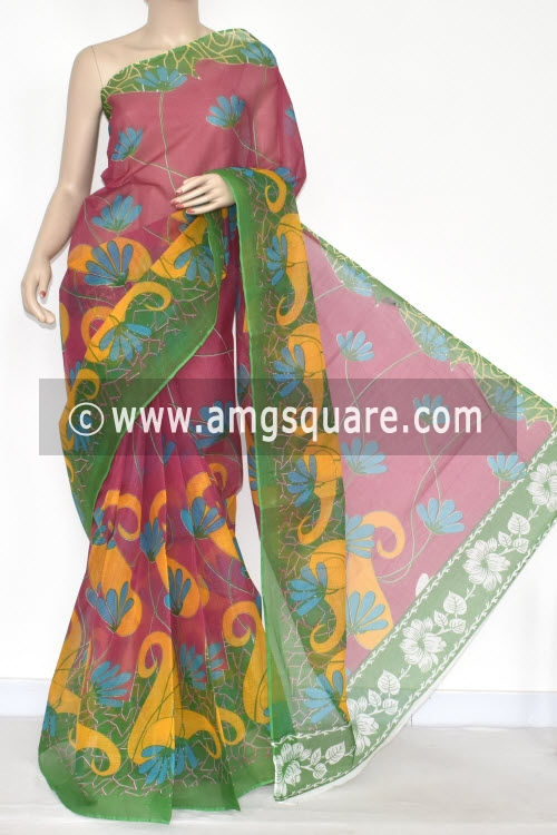 Red Green Premium JP Kota Doria Printed Cotton Saree (without Blouse) 15341