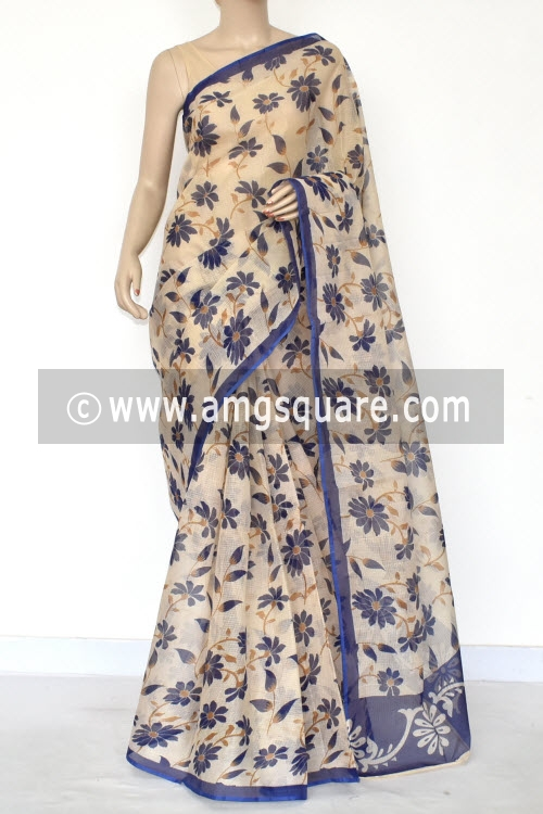 Beige Blue Floral Print Premium JP Kota Doria Printed Cotton Saree (without Blouse) 15412