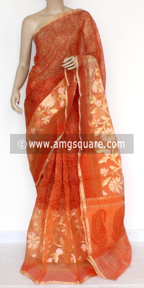 Orange Banarasi Kora Cot-Silk Printed Handloom Saree (With Blouse) 16117