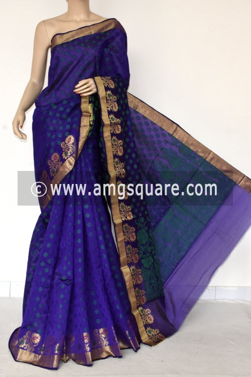 Ink Blue Handloom Banarasi Semi Cotton Saree (with Blouse) Allover Resham Weaving 16220