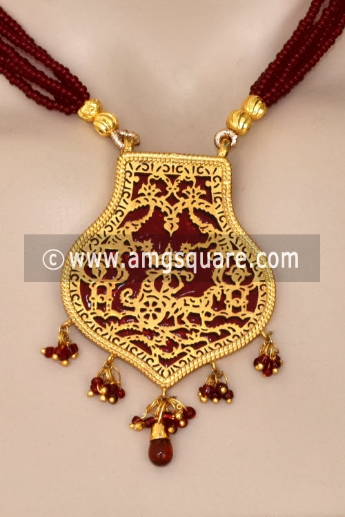Maroon Traditional Thewa Pendant Set 11240