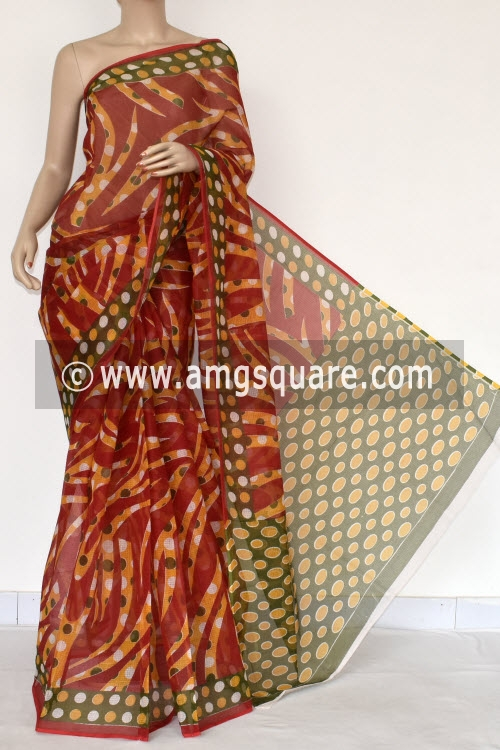 Red Premium JP Kota Doria Printed Cotton Saree (without Blouse) 15387