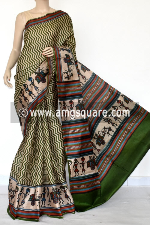 Green Tusser Art Silk Printed Saree (With Blouse) 13456