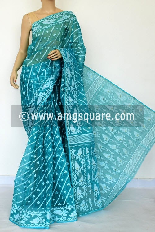 Sea Green Jamdani Handwoven Bengal Tant Cotton Saree (Without Blouse) 17015
