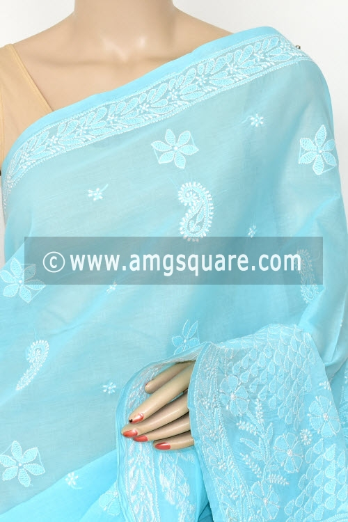 Light Pherozi Blue Hand Embroidered Lucknowi Chikankari Saree (With Blouse - Cotton) Rich Border and Pallu 14764