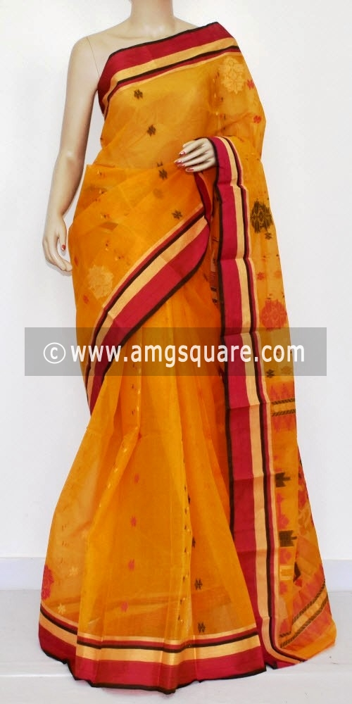 Golden Yellow Handwoven Bengal Tant Cotton Saree (Without Blouse) 14223