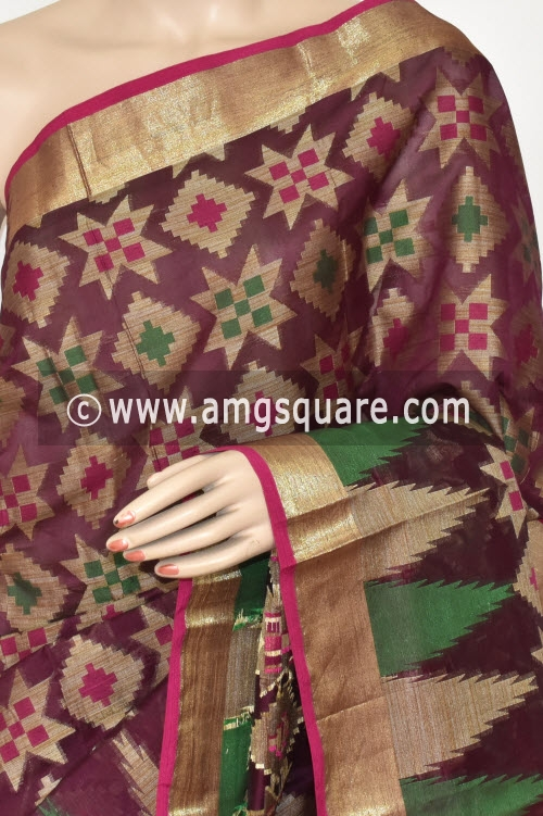 Maroon Handloom Banarasi Kora Saree (with Blouse) Allover Resham Weaving 16250