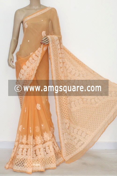 Light Orange Hand Embroidered Lucknowi Chikankari Saree (With Blouse - Georgette) 14484