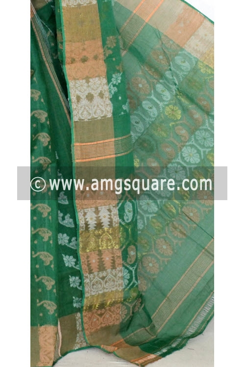 Green Handwoven Bengal Jamdani Tant Cotton Saree (Without Blouse) 14291