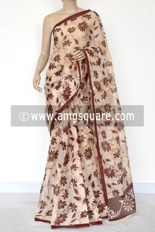 Beige Maroon Floral Print Premium JP Kota Doria Printed Cotton Saree (without Blouse) 15411