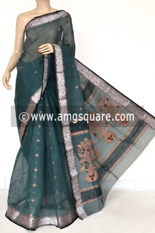 Greyish Green Handwoven Bengal Tant Cotton Saree (Without Blouse) Resham Border 17397