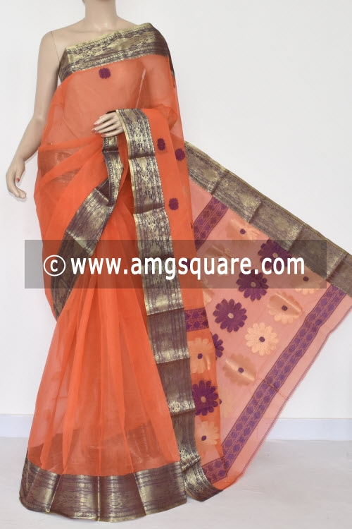 Orange Golden Zari Border Handwoven Bengal Tant Cotton Saree (Without Blouse) 17382