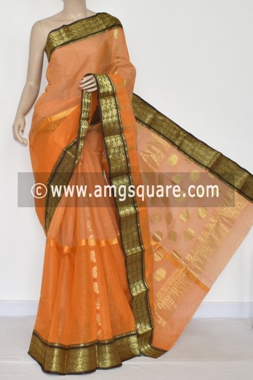Light Orange Handwoven Bengal Tant Cotton Saree Zari Border and Pallu (Without Blouse) Half-Half 17341