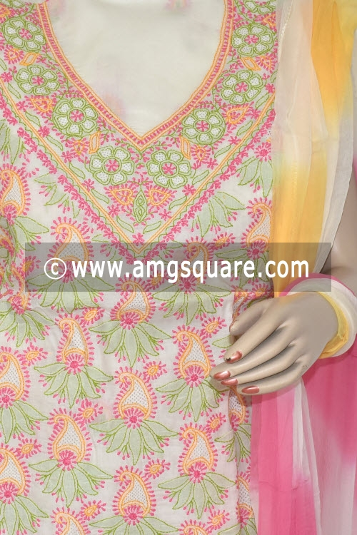 Pink Yellow Un-Stitched Hand-Embroidered Lucknowi Chikankari Salwar Kameez (Cotton) 17865