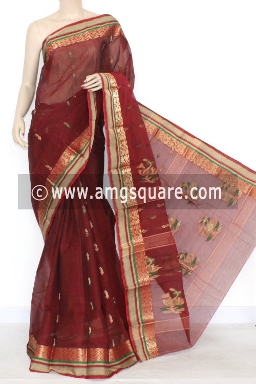 Maroon Handwoven Bengali Tant Cotton Saree (With Blouse) Zari Border 17293