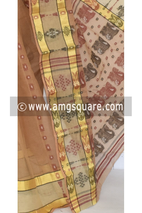 Fawn Handwoven Bengali Tant Cotton Saree (Without Blouse) 17332