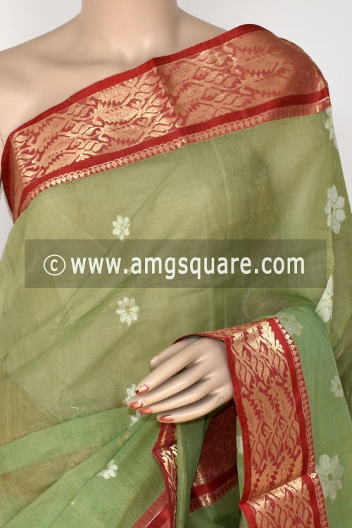 Pista Green Handwoven Bengali Tant Cotton Saree (Without Blouse) 14134