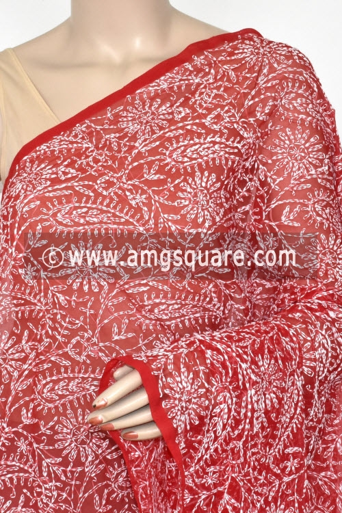 Red Hand Embroidered Allover Tepchi Work Lucknowi Chikankari Dupatta (Georgette) 17943