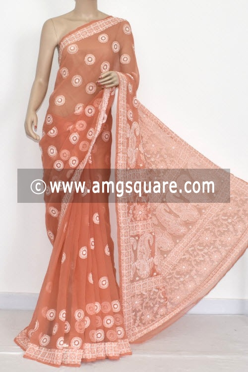 Light Chocolate Hand Embroidered Lucknowi Chikankari Saree (With Blouse - Georgette) 14415