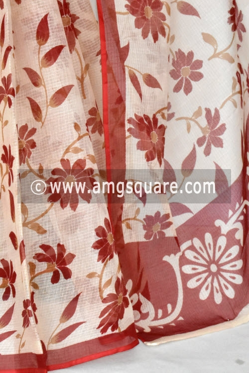 Beige Red Floral Print Premium JP Kota Doria Printed Cotton Saree (without Blouse) 15413
