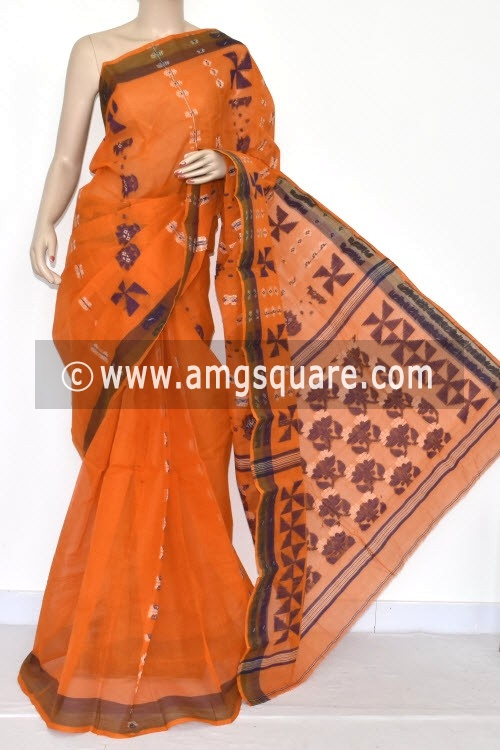 Orange Handwoven Bengal Tant Cotton Saree (Without Blouse) 14168
