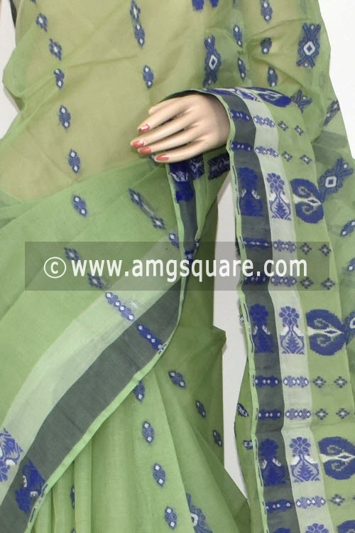 Pista Green Handwoven Bengal Tant Cotton Saree (Without Blouse) 14172