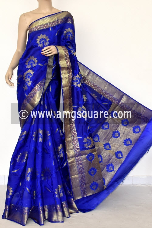 Royal Blue Banarasi Handloom Dupion Silk Saree (With Blouse) Allover Resham Weaving 16174
