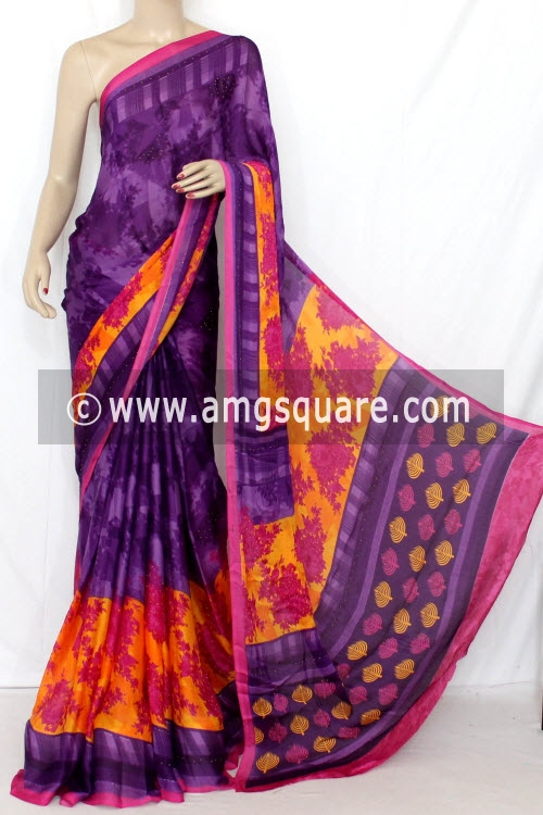 Purple-Orange Printed Silk Saree (With Blouse) 13343