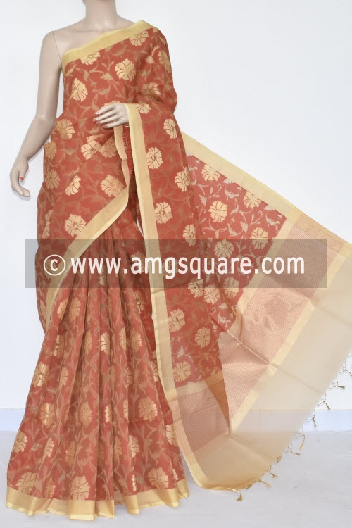 Brick Banarasi Kora Cot-Silk Handloom Saree (With Blouse) Zari Border 16141