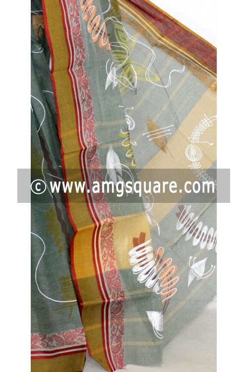 Grey Maroon Hand-printed Bengal Tant Cotton Saree (Without Blouse) 13907