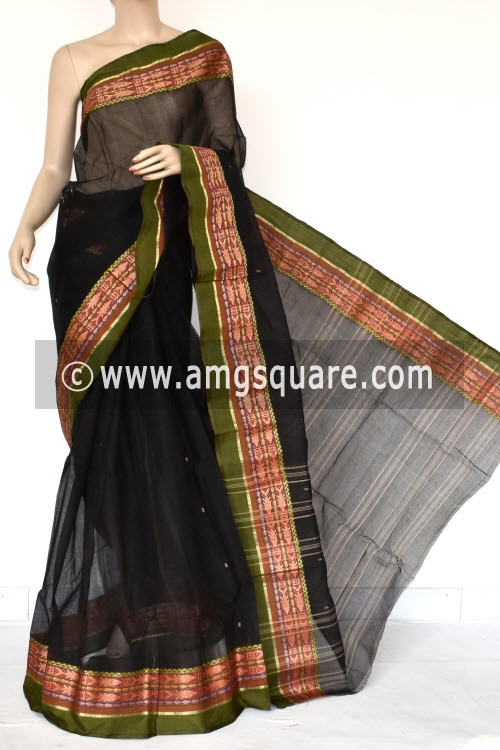 Black Handwoven Bengali Tant Cotton Saree (Without Blouse) 17414