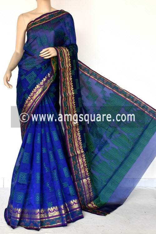 Royal Blue Handloom Banarasi Semi Cotton Saree (with Blouse) Zari Border Resham Weaving 16229