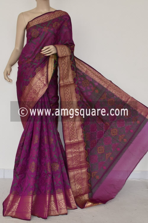 Magenta Handloom Banarasi Kora Saree (with Blouse) Allover Resham Weaving 16239