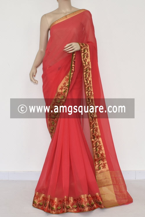 Peach Handloom Semi-Chiffon Saree (with Blouse) Embroidery on Zari Border 16182