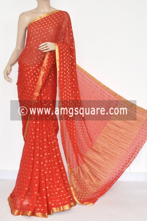 Red Handloom Semi-Chiffon Saree (with Blouse) Allover Zari Border and Booti 16201