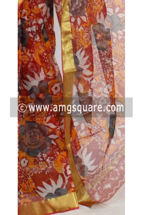 Orange Magenta JP Kota Doria Printed Cotton Saree (without Blouse) Zari Border 13552