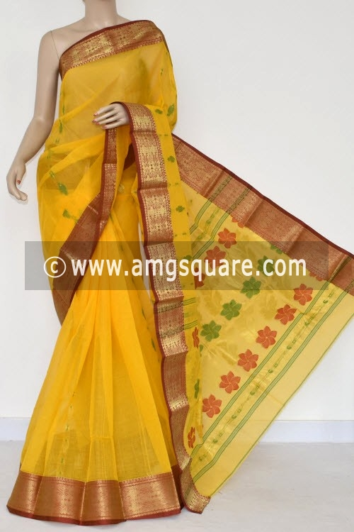 Yellow Handwoven Bengal Tant Cotton Saree (Without Blouse) Zari Border 14207