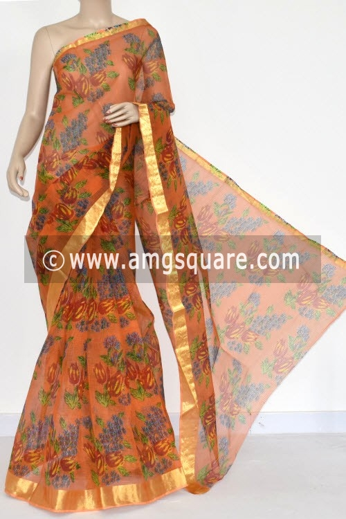 Orange JP Kota Doria Floral Print Cotton Saree (without Blouse) Zari Border 15358