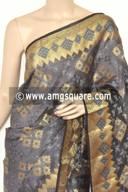 Grey Handloom Banarasi Kora Saree (with Blouse) Allover Zari Weaving 16177