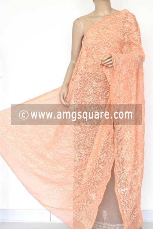 Peach Hand Embroidered Allover Tepchi Work Lucknowi Chikankari Dupatta (Georgette) 17950