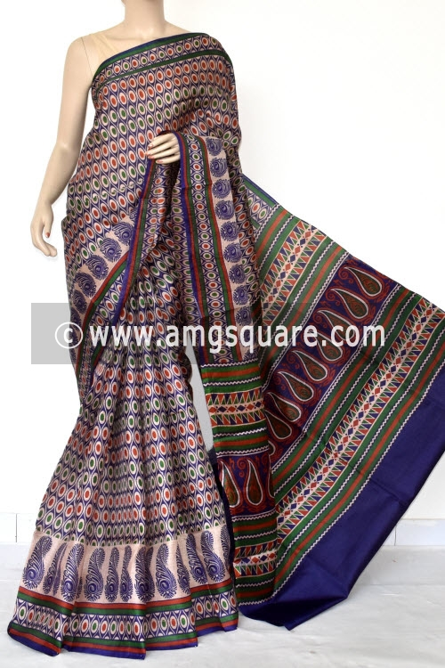 Blue Tusser Art Silk Printed Saree (With Blouse) 13460
