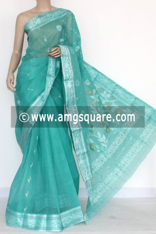 Sea Green Handwoven Bengal Tant Cotton Saree (Without Blouse) Silver Zari 14003