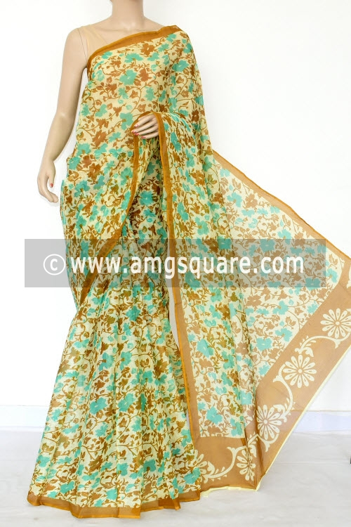 Mustard Sea Green Premium JP Kota Doria Floral Print Cotton Saree (without Blouse) 15438