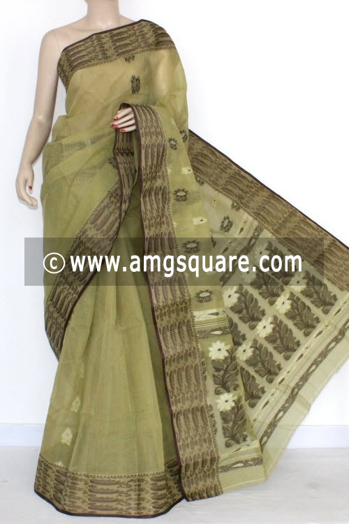 Menhdi Green Handwoven Bengal Tant Cotton Saree (Without Blouse) 14096