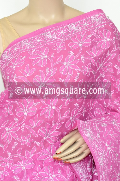 Onion Allover Hand Embroidered Lucknowi Chikankari Saree (With Blouse - Cotton) 14738