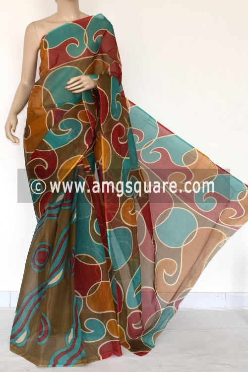 Sea Green Maroon Premium JP Kota Doria Printed Cotton Saree (without Blouse) 15373