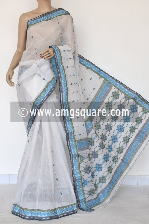 White Handwoven Bengal Tant Cotton Saree (Without Blouse) Resham Border 17119