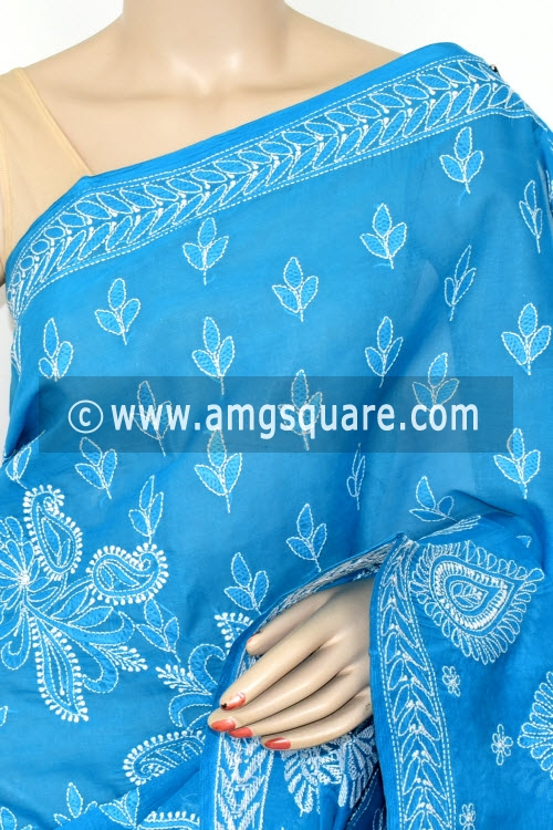 Blue Hand Embroidered Lucknowi Chikankari Saree (With Blouse - Cotton) Rich Border and Pallu 14776
