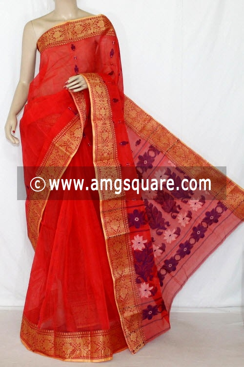 Orange Handwoven Bengal Tant Cotton Saree (Without Blouse) 14095