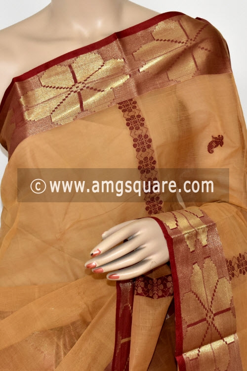 Fawn Handwoven Bengal Tant Cotton Saree (Without Blouse) Zari Border 17396